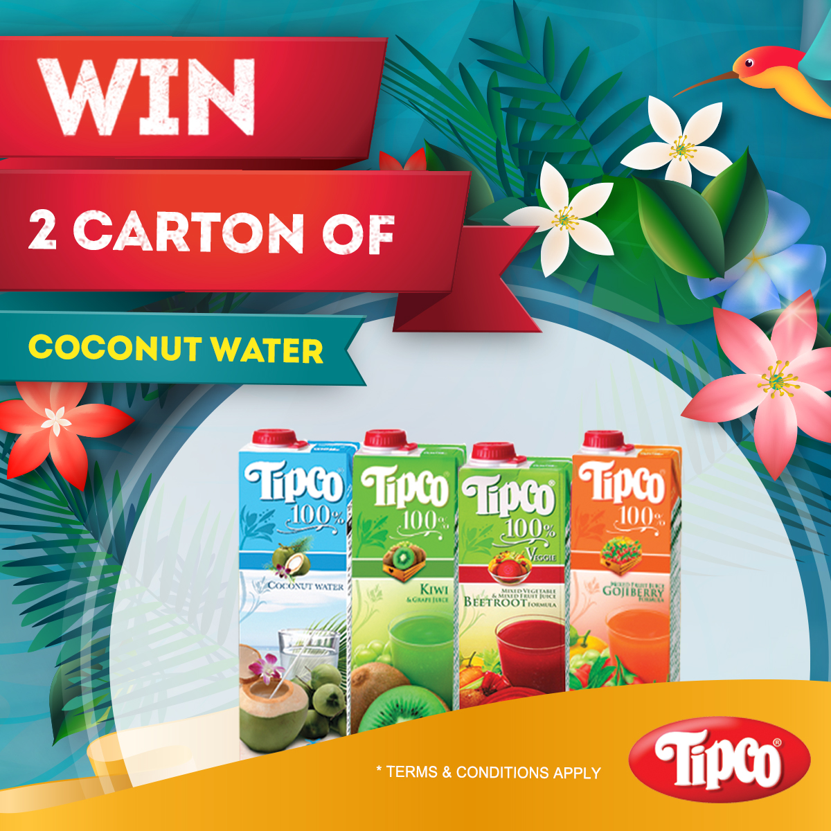 [Win!] 5 sets of 2 carton Tipco coconut water are up for grabs!